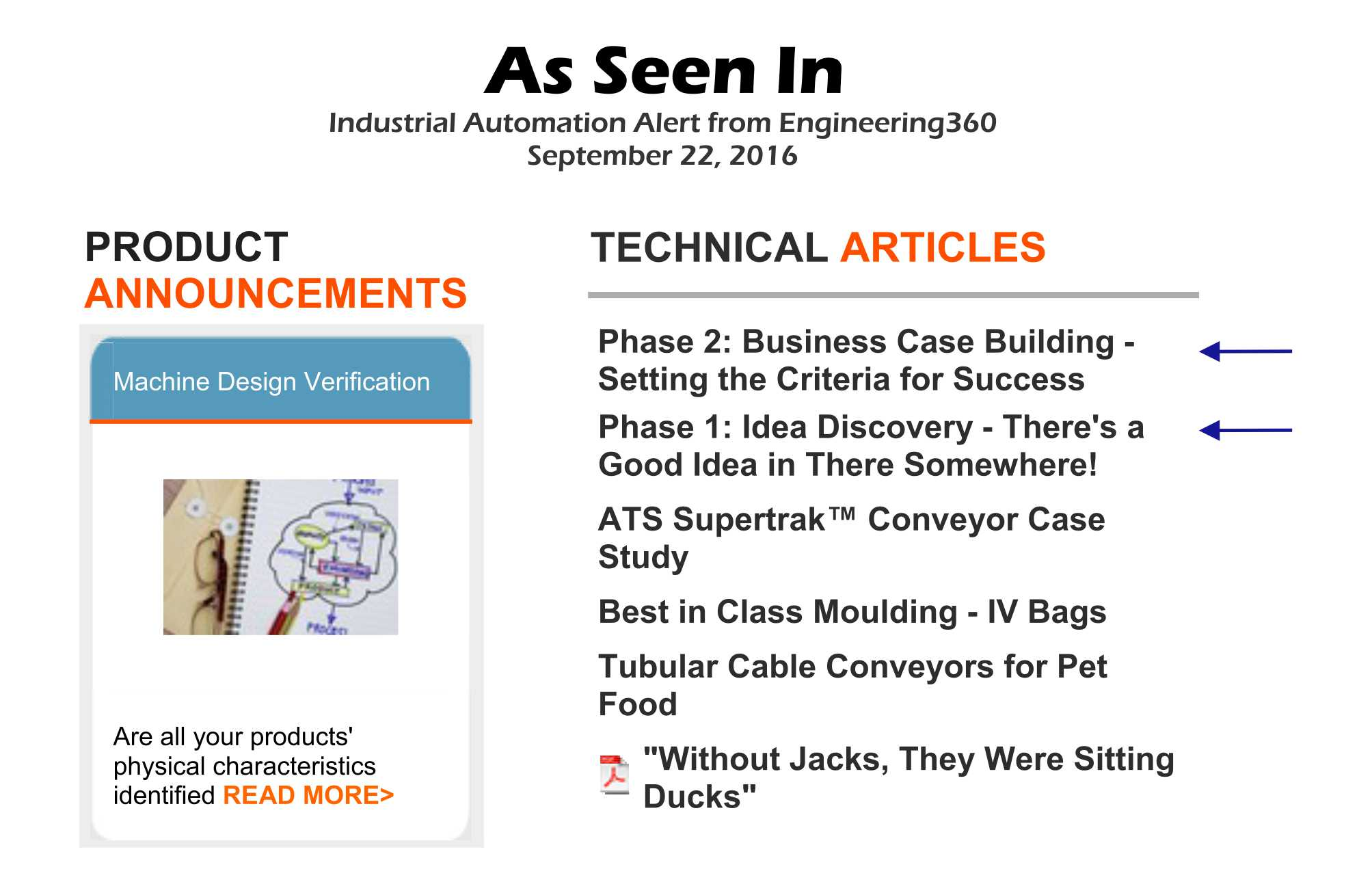 As Seen In: Engineering360 Industrial Automation Product Alert